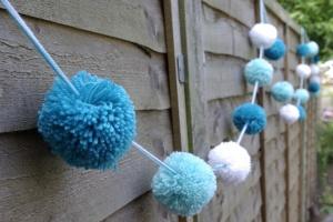 Frozen themed pom pom decoration