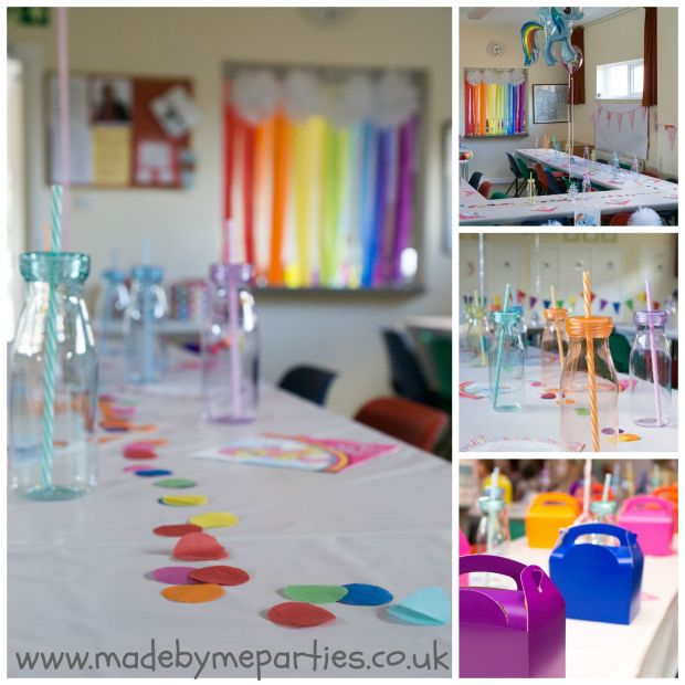 Rainbow table confetti and party ware, pom pom clouds and crepe rainbow.
