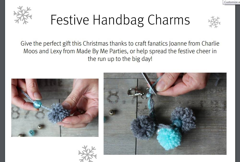 Festive pom pom charms for bags
