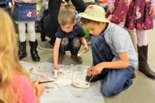 After you've decorated your dinosaur explorer hat, you can go on a fossil hunt!